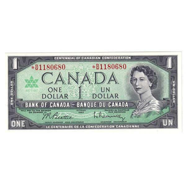 BC-45bA-i 1967 Bank of Canada $1, Replacement Beattie-Rasminsky. S/N:  *B/M1180680 A Nice Choice UNC