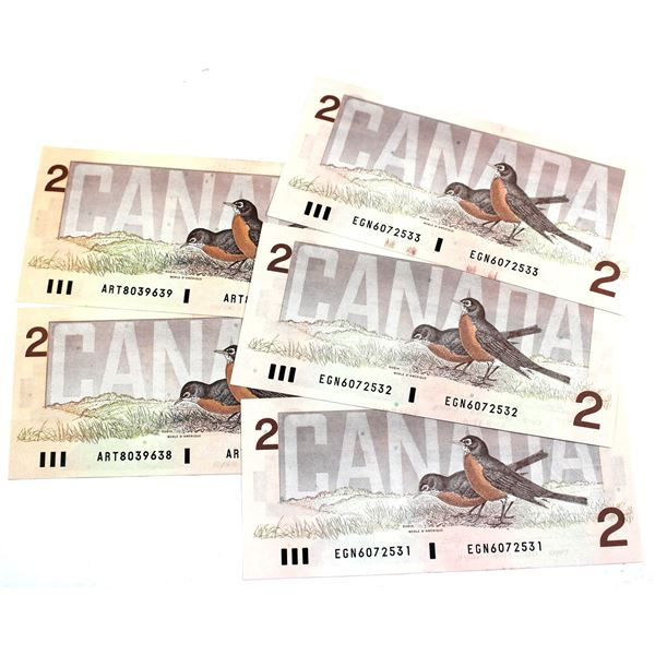 2x Sets of 1986 Bank of Canada $2 Sequential Numbered Notes - 2x BC-55a Crow-Bouey. S/N: ART8039638/
