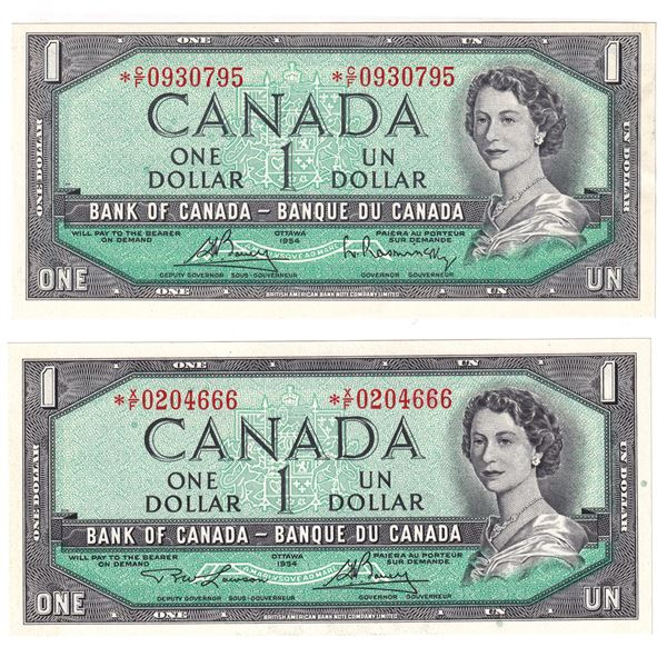 2x 1954 Bank of Canada $1 Modified Replacement Notes - BC-37cA Bouey-Rasminsky. S/N:  *C/F0930795 AU