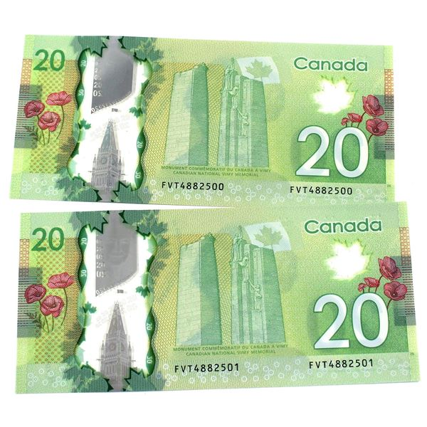 BC-71b  2012 Bank of Canada $20, 2x Consecutive  Wilkins-Poloz. S/N: FVT4882500/501 Both notes are C