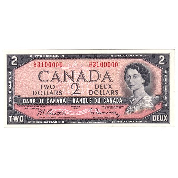 BC-38b  1954 Bank of Canada $2, Modified  Beattie-Rasminsky. S/N: N/U3100000 A Unique Numbered Note