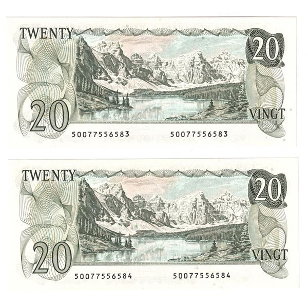 BC-54a 1979 Bank of Canada $20, 2x Consecutive  Lawson-Bouey. S/N: 50077556583/84 Both Notes Nice CU