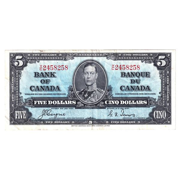 BC-23c 1937 Bank of Canada $5, Coyne-Towers. S/N: Y/C2458258 About VF Condition.