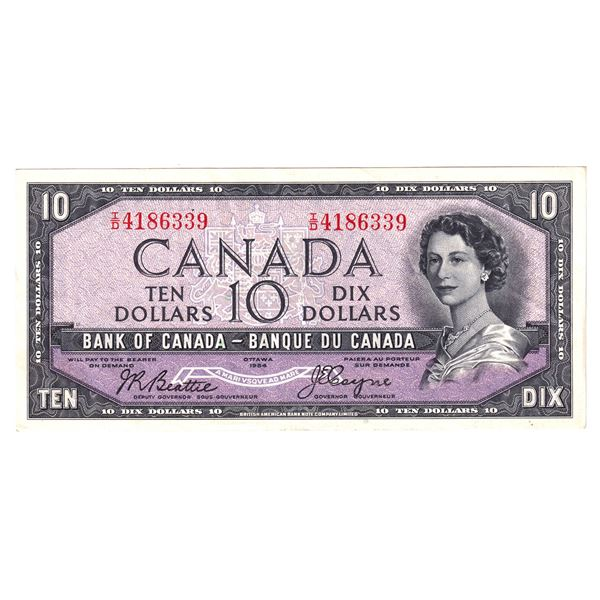 BC-32b 1954 Bank of Canada $10, Devil's Face Beattie-Coyne. S/N: I/D4186339 An Attractive EF-AU Note