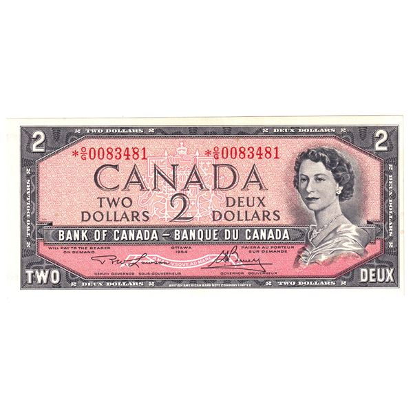BC-38dA 1954 Bank of Canada $2, Modified  Replacement Lawson-Bouey. S/N: *O/G0083481 Choice UNC+.