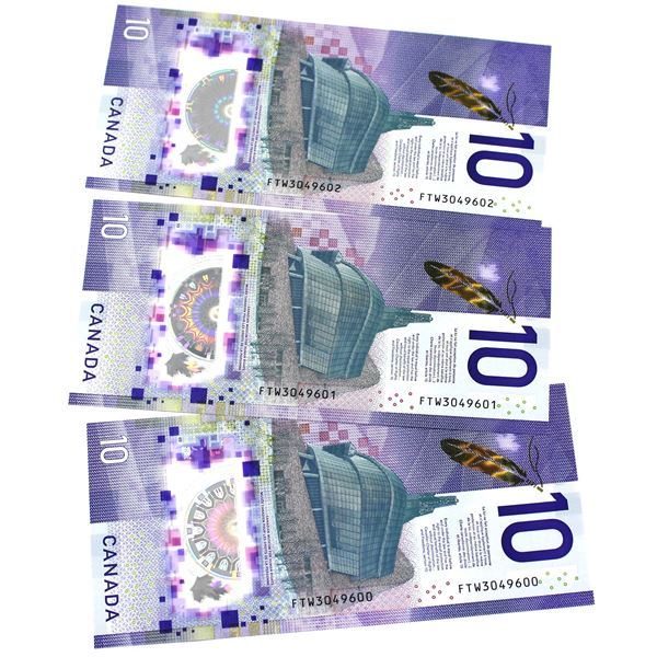 BC-77a 2018 Bank of Canada $10, 3x Sequential Wilkins-Poloz. S/N: FTW3049600/601/602 All notes nice