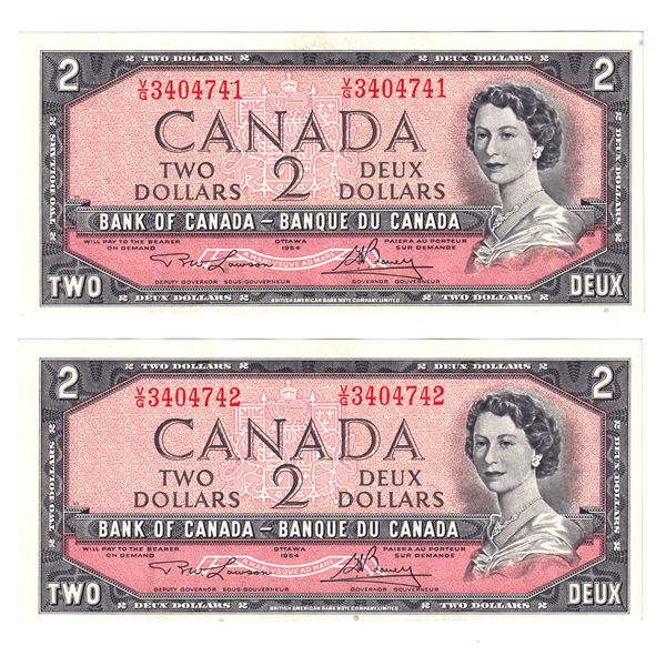 BC-38d 1954 Bank of Canada $2, 2x Sequential Modified  Lawson-Bouey. S/N: V/G3404741/742 Both notes
