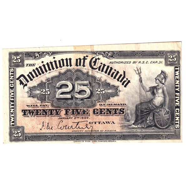 DC-15a 1900 Dominion Of Canada 25c, Courtney.  An attractive VF-EF Note.