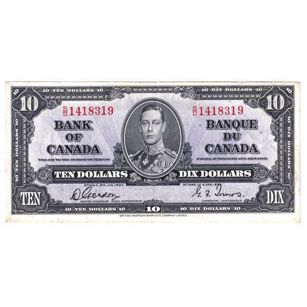 BC-24b 1937 Bank of Canada $10, Gordon-Towers. S/N: S/D1418319 An About EF condition.