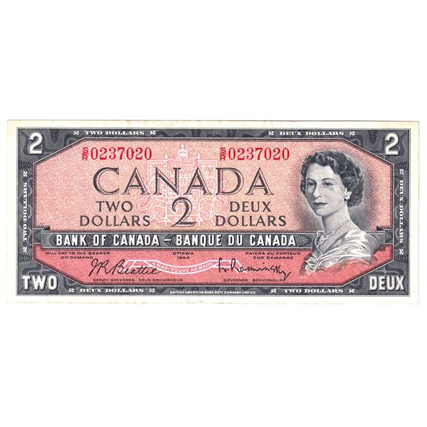 BC-38bT 1954 Bank of Canada $2, TEST NOTE Modified  Beattie-Rasminsky. S/N: S/R0237020 A nice solid