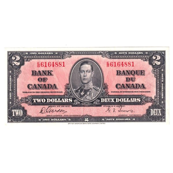BC-22b 1937 Bank of Canada $2, Gordon-Towers. S/N: E/B6164881 A strong EF-AU Note, Well Centered!