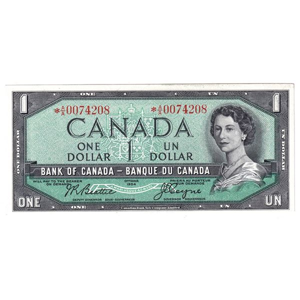 BC-37aA 1954 Bank of Canada $1, Modified Replacement Coyne-Towers. S/N:  *A/A0074208 AU Condition.
