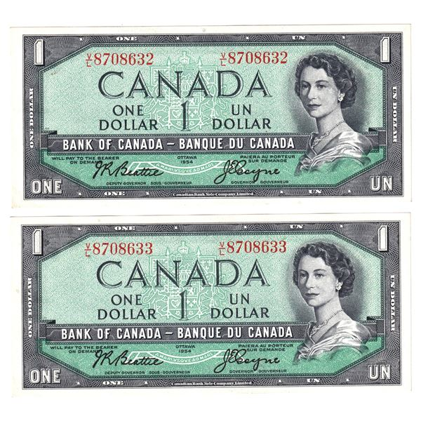 BC-37a 1954 Bank of Canada $1, Pair of 2 Sequential Modified Beattie-Coyne. S/N: V/L8708632/633 Both