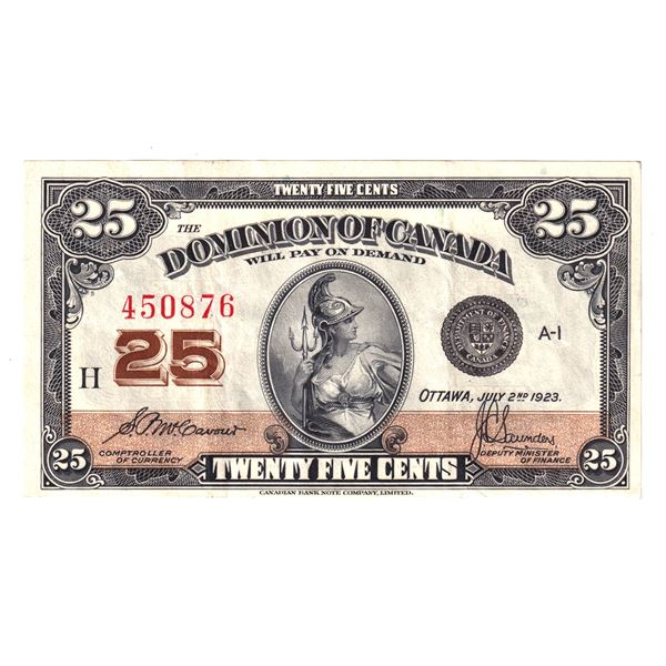 DC-24c 1923 Dominion Of Canada 25c, No Authorized McCavour-Saunders. S/N: 450876 A bright EF Note.