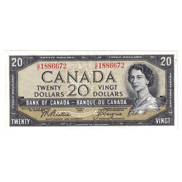 BC-41a 1954 Bank of Canada $20, Modified Beattie-Coyne. S/N: G/E1886672 An Extra Fine Note.