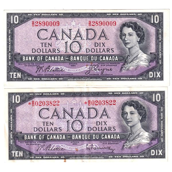 2x 1954 Bank of Canada $10 Modified Notes - BC-40a Beattie-Coyne. S/N: S/D2890009 Extra Fine (spots)