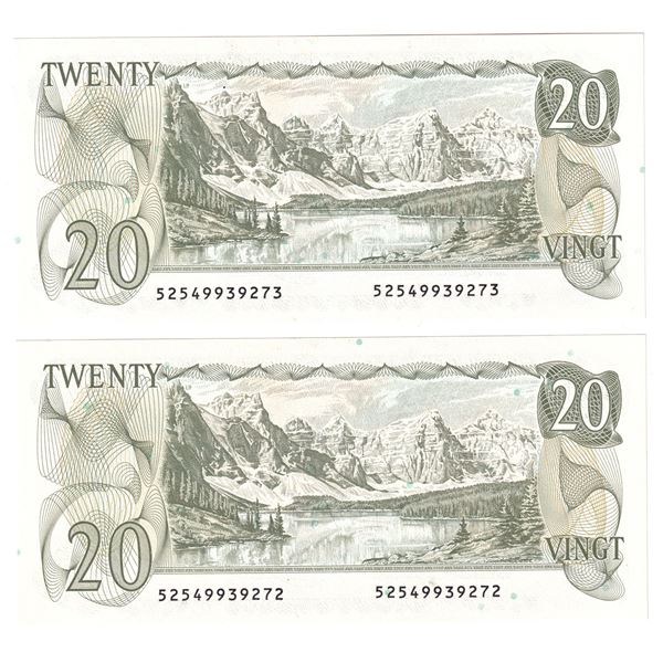 BC-54c-i 1979 Bank of Canada $20, 2x Consecutive  Thiessen-Crow. S/N: 52549939272/273 Both notes CUN