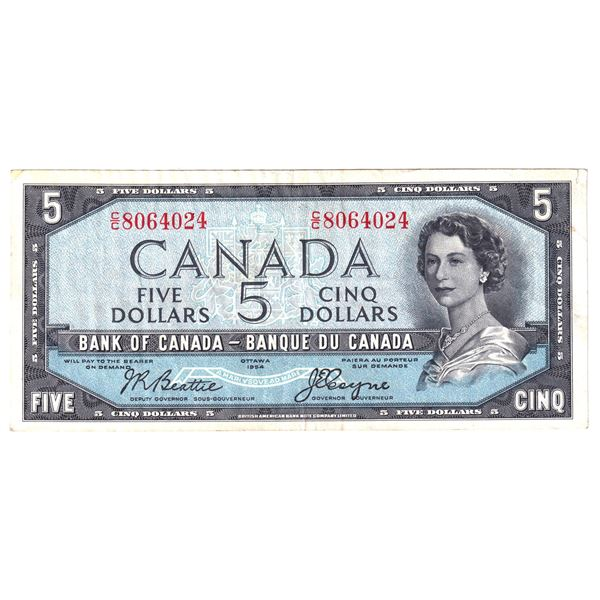 BC-31a 1954 Bank of Canada $5, Devil's Face Coyne-Towers. S/N: C/C8064024 About VF with small margin