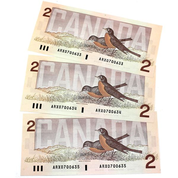 BC-55aA 1986 Bank of Canada $2, 3x Sequential Replacement Crow-Bouey. S/N: ARX0700633/634/635 All 3