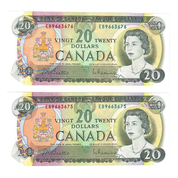 BC-50a  1969 Bank of Canada $20, 2x Consecutive  Beattie-Rasminsky. S/N: EB9663675 Both Notes are AU