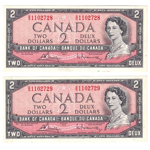 BC-38cT 1954 Bank of Canada $2, 2x Sequential Modified  Bouey-Rasminsky. S/N: G/G1102728/729 Both no