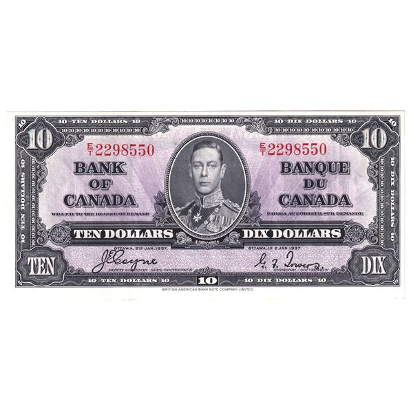 BC-24c 1937 Bank of Canada $10,  Coyne-Towers. S/N: E/T2298550 A Nice VF-EF Note with bright colours
