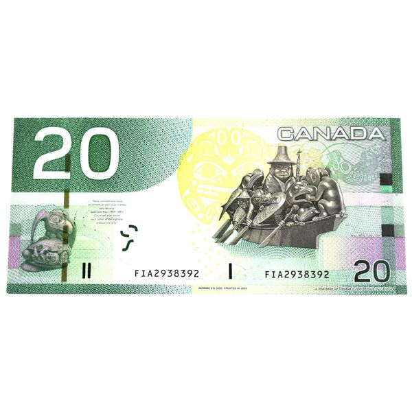 BC-64b-N1-iii 2004 Bank of Canada $20, 4 Digit Radar Jenkins-Carney. S/N: FIA2938392 A UNC Note.