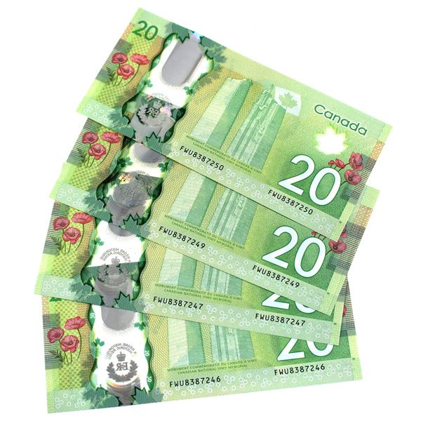 BC-74 2015 Bank of Canada $20, 5x Consecutive Wilkins-Poloz. S/N: FWU8387246-250 all Notes CUNC+ (5p