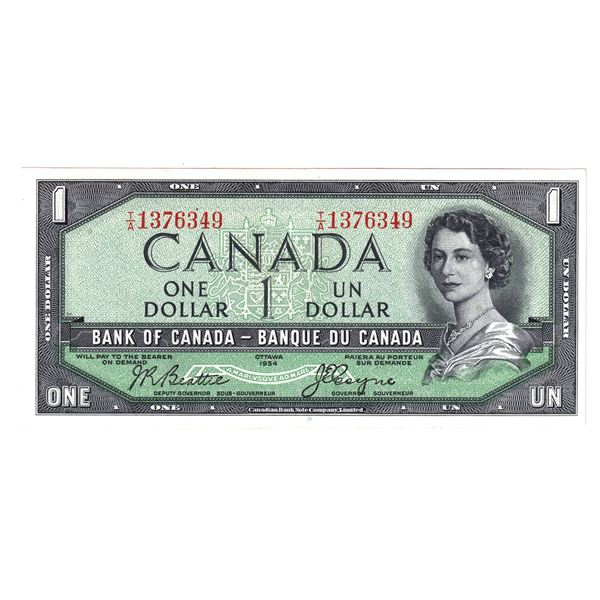 BC-29b 1954 Bank of Canada $1, Devil's Face   Beattie-Coyne. S/N: T/A1376349 Nice AU Grade.