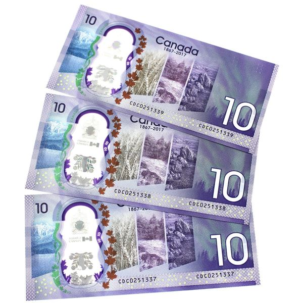 BC-75 2017 Bank of Canada $10, 3x Sequential Wilkins-Poloz. S/N: CDC0251337/338/339 All notes nice C