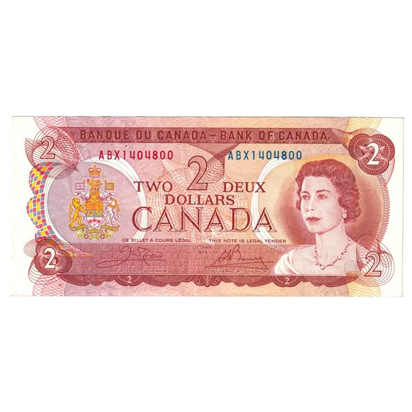 BC-47bA 1974 Bank of Canada $2, Replacement Crow-Bouey. S/N: ABX1404800 A Nice attractive VF-EF on t