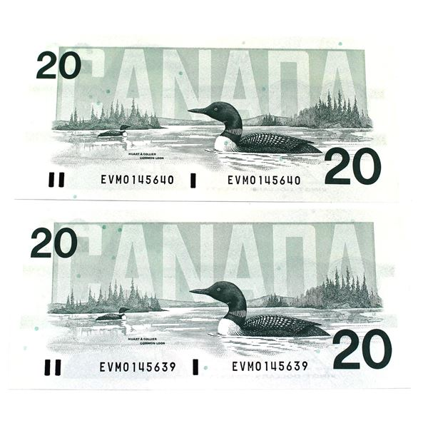 1991 Bank of Canada $20, 2x Consecutive  Bonin-Thiessen. S/N: EVM0145639/640 Both Notes Are a Nice A