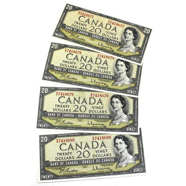 BC-41b 1954 Bank of Canada $20, 4x Sequential Modified Beattie-Rasminsky. S/N: R/E7418677/78/79/80 A