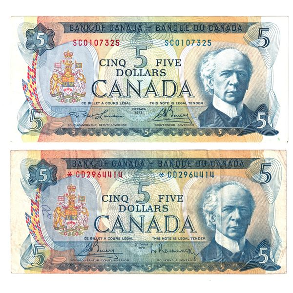 2x 1972 Bank of Canada $5 Notes - BC-48aA S/N: *CD2964414 F-VF & BC-48b S/N: SC0107325 About EF cond