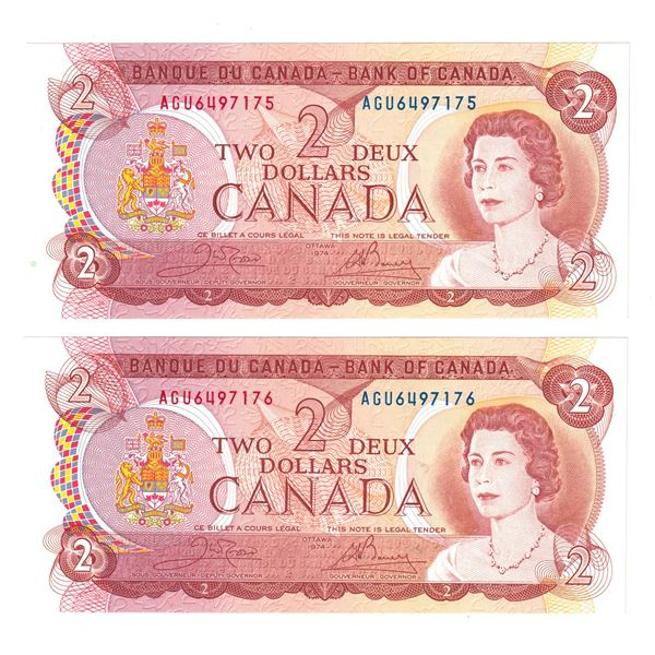 BC-47b  1974 Bank of Canada $2, 2x Sequential Crow-Bouey. S/N: AGU6497176 Both notes Choice UNC+.