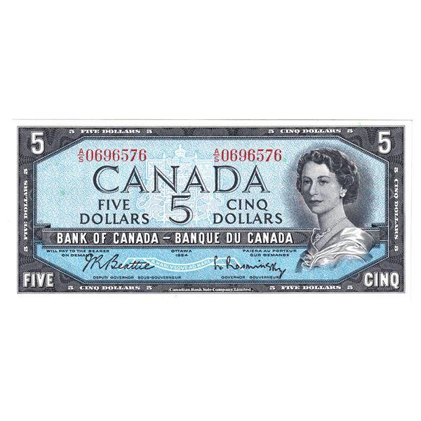 BC-39b 1954 Bank of Canada $5, Modified Beattie-Rasminsky. S/N: A/S0696576 A choice AU-UNC note .