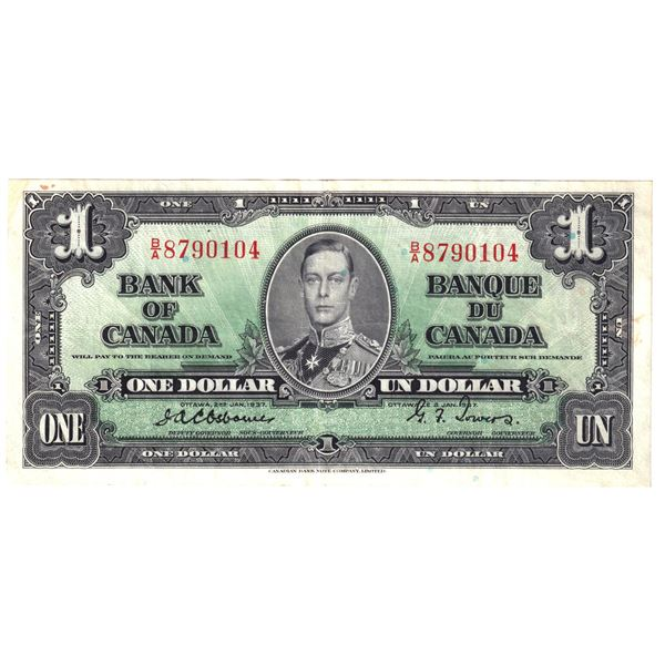 BC-21a 1937 Bank of Canada $1,  Osborne-Towers. S/N: B/A8790104 About Extra Fine Condition.