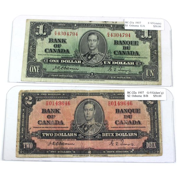 2x 1937 Bank of Canada Notes with Osborne-Towers Signatures - BC-21a E/A4304794 F-VF (Stain) & BC-22