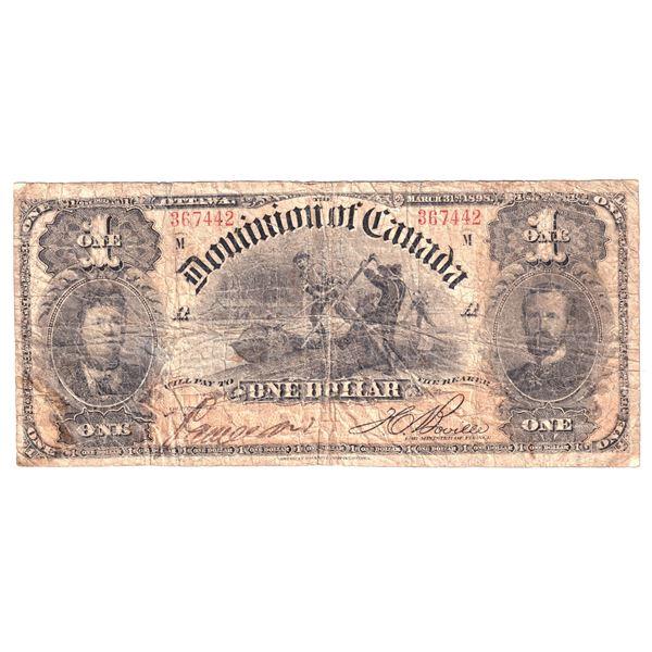 DC-13c 1898 Dominion of Canada $1, Boville, S/N: 367442, Circ.