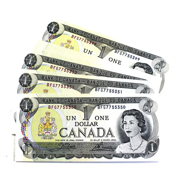 50x 1973 Bank of Canada $1 Crow-Bouey Banknotes with Consecutive Serial Numbers BFG7755350-599. 50pc