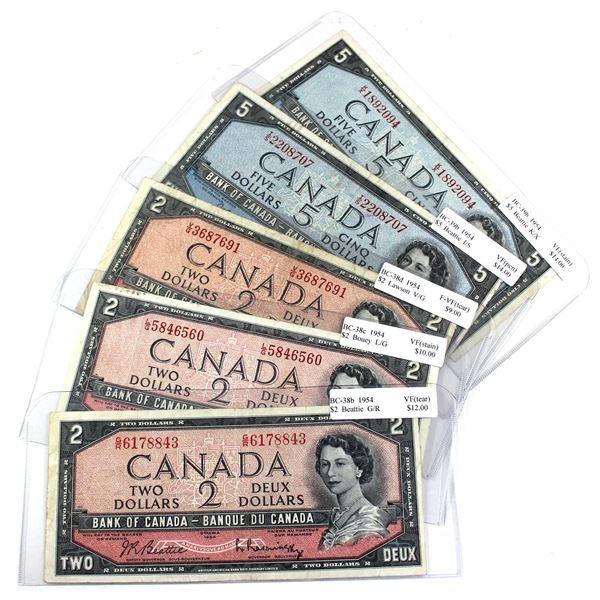 3x 1954 $2 & 2x 1954 $5 Bank of Canada Notes - BC-38b $2 Prefix G/R, BC-38c $2 Prefix L/G, BC-38d $2