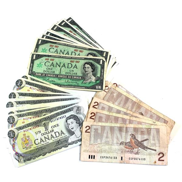 Lot of 44x Bank of Canada $1 & $2 Banknotes. You will receive 21x 1967 $1 no serial number, 18x 1973