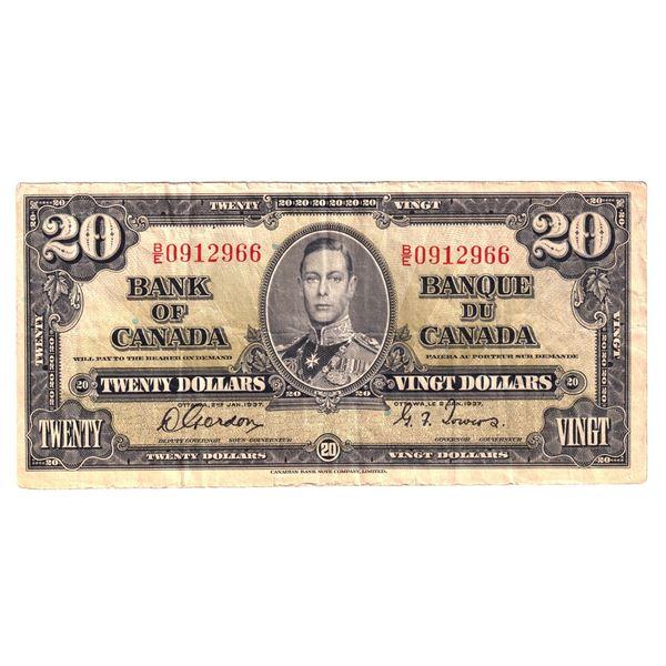1937 BC-25b Bank of Canada $20, Gordon-Towers, B/E0912966, F-VF (Damaged).