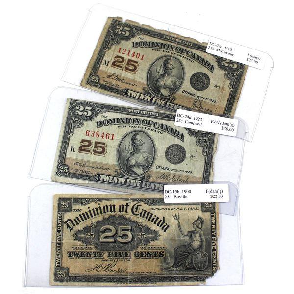 3x Dominion of Canada 25c Banknotes - 1900 DC-15b, 1923 DC-24c & 1923 DC-24d in Fine or F-VF Conditi