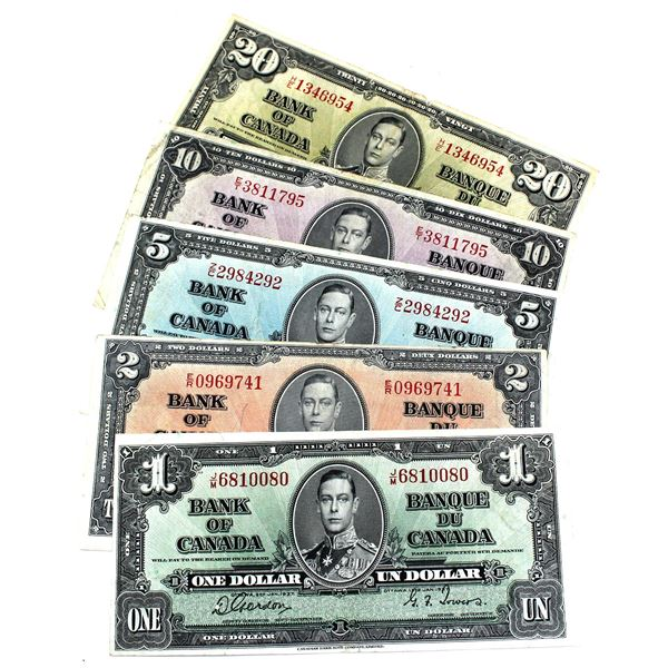 1937 Bank of Canada Run of $1 to $20 Notes in VF Condition. You will receive $1 & $20 notes Gordon-T
