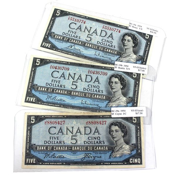 1954 Bank of Canada $5 Notes Featuring all Signature Combinations in VF-EF Condition. Notes contain