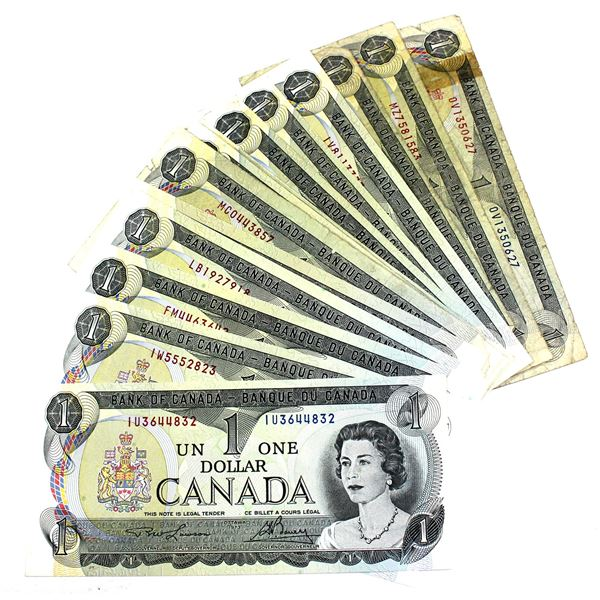 1973 Bank of Canada $1 Notes with 2 Letter Prefixes and Lawson-Bouey Signatures. 24pcs