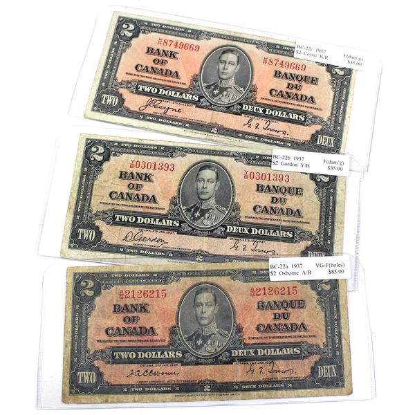 1937 Bank of Canada $2 Notes Featuring all Signature Combinations in VG-F or Fine Condition. Notes c