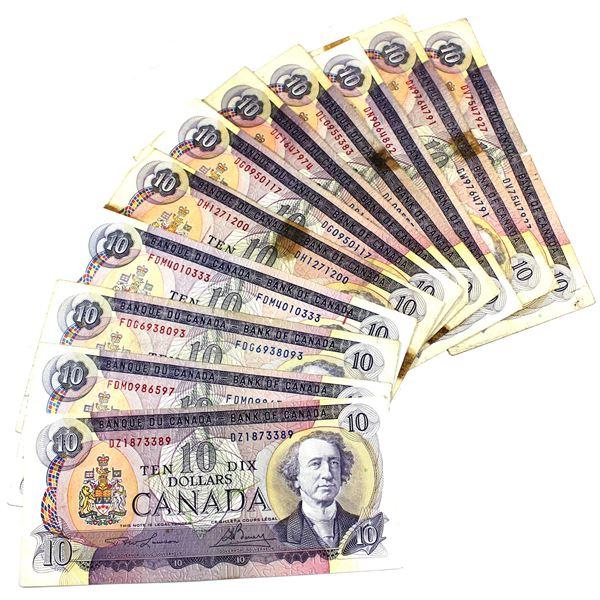 1971 Bank of Canada $10 Notes with 1x Lawson-Bouey, 4x Bouey-Rasminsky, 4x Beattie-Rasminsky & 3x Th