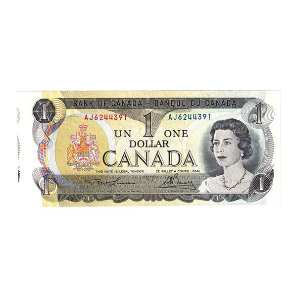 1973 BC-46a-E25a-i Bank of Canada $1 Note with Cut Off Size Error! Note contains approximately 5mm o